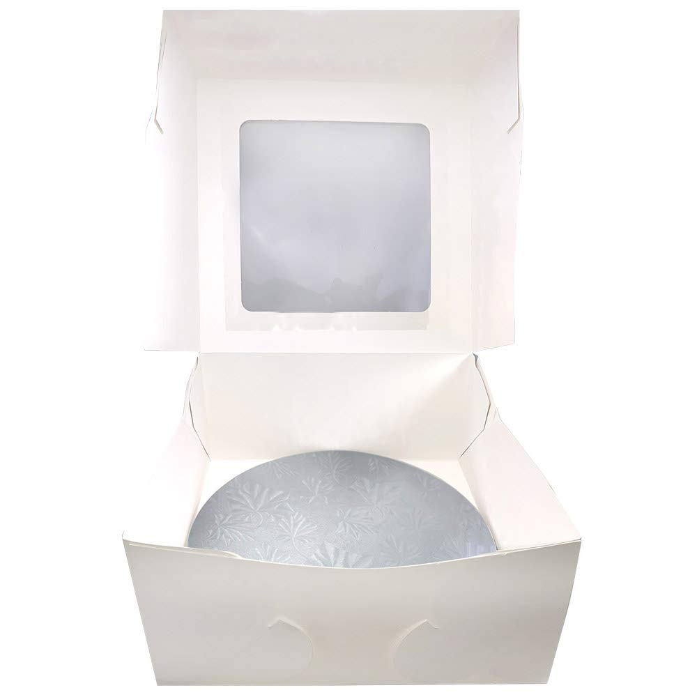 10 Combo Box Set 10x10x5 1//2 White Cake Box with 10 Silver Round Drum 1//2 Pack of 3
