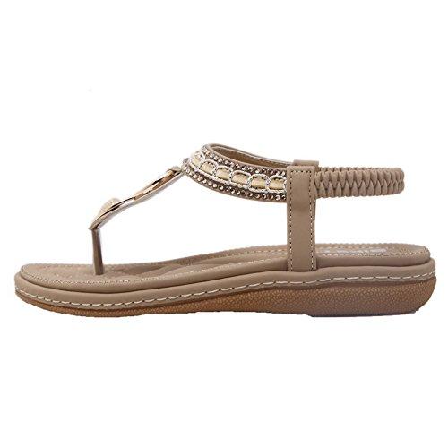Sandalias Albaricoque Mujeres Sólido Mini Dividida AgooLar Tacón PU GMXLA008481 de Vestir Puntera Tw0PqH