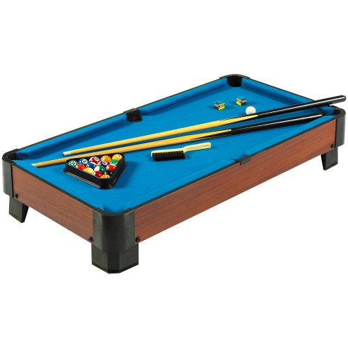 Hathaway Sharp Shooter 40-in Portable Table Top Pool Table Set with Cues, Balls, Racking Triangle - Blue Felt