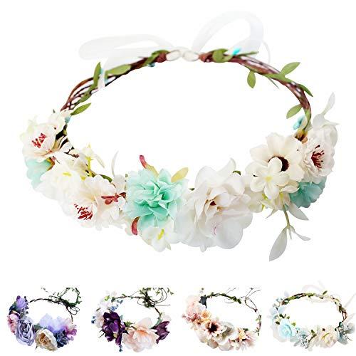 Handmade Adjustable Flower Wreath Headband Halo Floral Crown Garland Headpiece Wedding Festival Party (C1-Light Green+White)