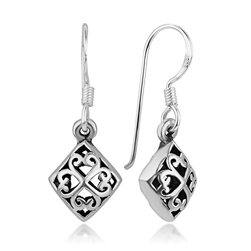 - 925 Sterling Silver Puffed Square Celtic Four Leaf Clover Heart-Shaped Dangle Hook Earrings