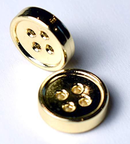 Round Button Gold (SFG Round Metal Shirt Buttons 4 Holes 11.5mm 7/16
