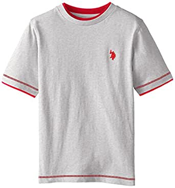 U.S. Polo Assn. Boys' Little Double Crew Look T-Shirt, Light Heather Gray, 2T
