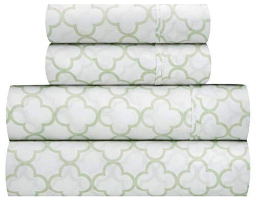 Waverly Traditions Framework Mint Green & White Trellis Print 4-Pc. Bed Sheet Set (Full)