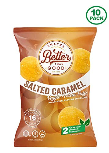 Puffs Protein Ranch - Low Carb High Protein Puffs - Keto Snack (Salted Caramel 10-Pack) 16g Protein with 2 Serving of Fruits & Veggies, Low Carb, Low Sugar, Low Calories, Keto Friendly, Diabetic Healthy Snack