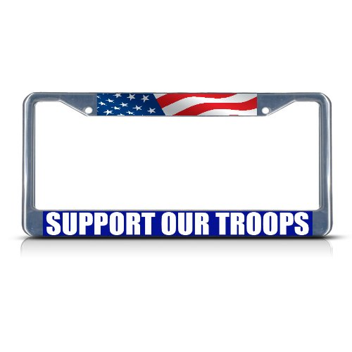 (Fastasticdeals Support Our Troops Chrome Heavy Duty Metal License Plate Frame)