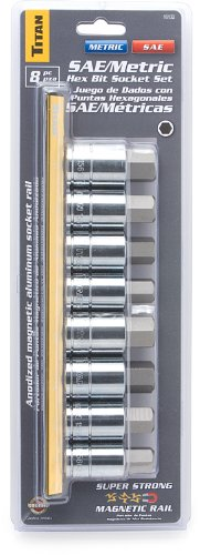 Titan Tools 16132 SAE/Metric Large Hex Bit Socket Set - 8 Piece by Titan Tools (Image #1)