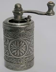 Turkish Brass Salt Pepper Spice Grinder Mill (Antique Silver)