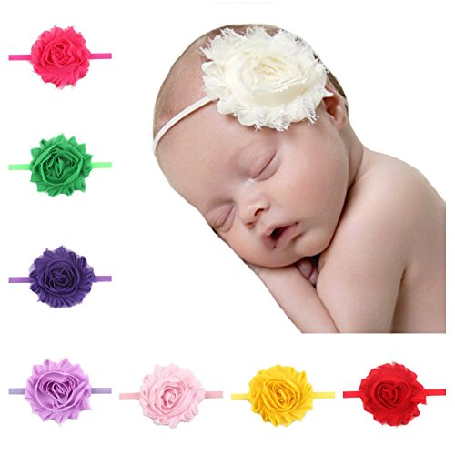 Price comparison product image Queengirls Baby Girls Shabby Chic Flower Headbands Newborn Headbands(20 Pack)