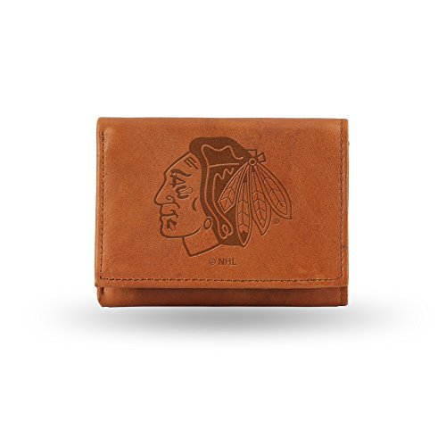 (Rico Industries NHL Chicago Blackhawks Embossed Leather Trifold Wallet, Tan)