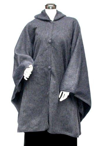 Alpaca Brushed Cape Cloak Poncho Hooded Grey