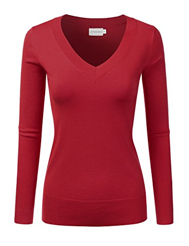 [JJ Perfection Women's Simple V-Neck Pullover Chic Soft Sweater RED L] (Red V-neck Pullover)