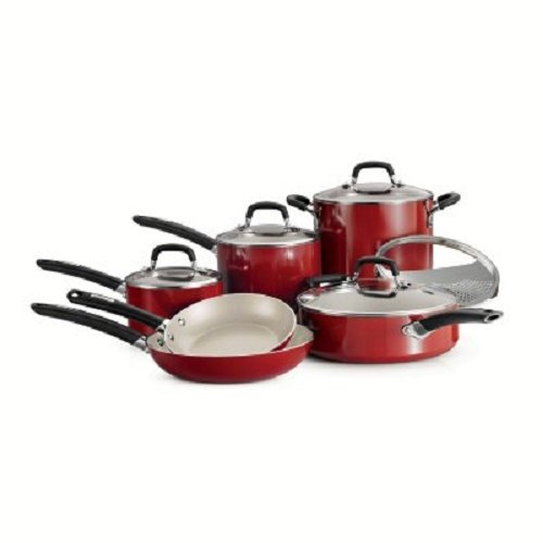 Tramontina 80157/505DS Ceramic Cookware Set, 11 Piece, Red, Made in USA