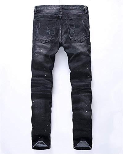 Stretch Strappati Slim Nero Abbigliamento Buchi Denim Cher Jeans Biker Da Pants Casual Distruggi Uomo Vintage I Fit wPaOqXa