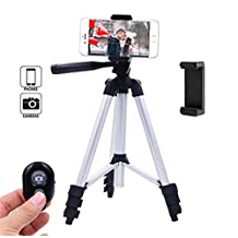 Jetai 42-Inch Bluetooth Wireless Remote Control Aluminum Camera Tripod +Universal Tripod Smartphone Mount for Apple, Iphone Samsung and Other Brands Smartphones (40''Tripod)