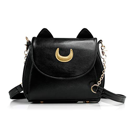 Oct17 Moon Luna Design Purse Kitty Cat satchel shoulder bag Designer Women Handbag Tote PU Leather Girls Teens School Sailer Style (Black) from Oct17