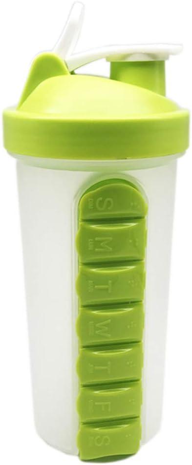 FXQ Paquete de 2 Pastillas Organizador de Pastillas Creativo Pill Box Cup, Organizador de medicamentos de 7 días al Aire Libre Lleve un diseño único de Caldera 600 ml, a Prueba de Humedad