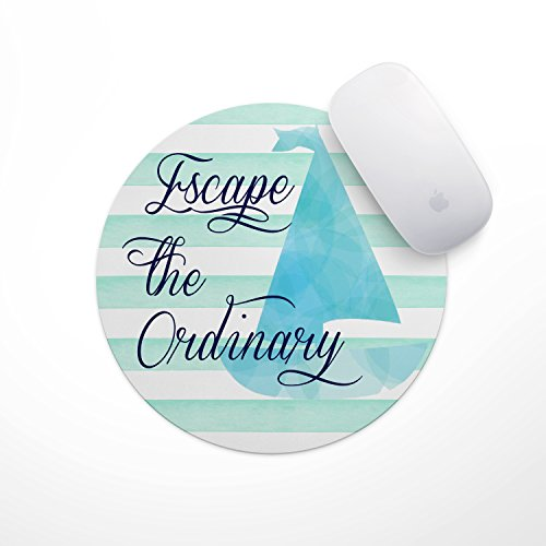 Inspirational Quote Mouse Pad- Mint Stripe Sailboat Escape the Ordinary
