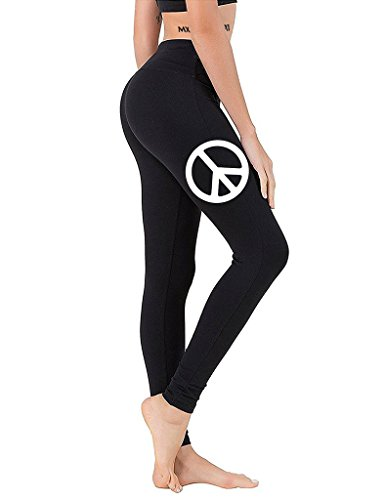 Junior's Peace Sign V305 Black Athletic Workout Leggings One Size Fit Most