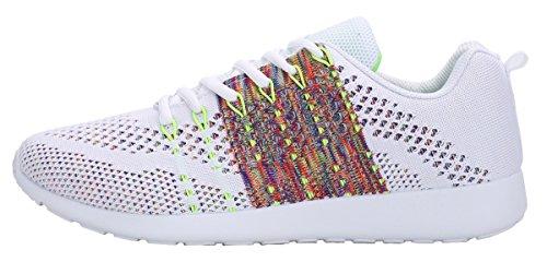 WELMEE Herren stricken Breathable beiläufige Turnschuhe leichte athletische Tennis Walking Laufschuhe Weiß