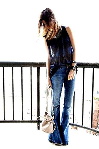 Womens Juniors 70s Trendy Sexy Asymmetric Tassel Slit Flare Fitted High Waist Bell Bottom Denim Jeans