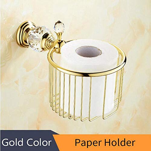 H Paper Holder Crystal Solid Brass gold Bathroom Robes Hook soap Rack Towel bar Towel bar Cup Holder Bathroom Accessories,A
