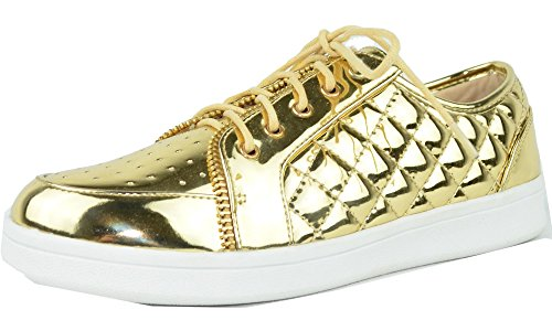 Chase & Chloe Womens Metallic Quilted Fashion Sneaker Gold tuDx8K5m