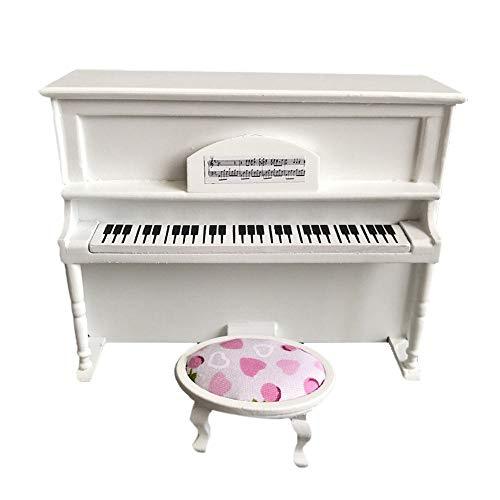 PSFS Wooden Black Upright Piano Mini Doll Scale Model, for 1/12 Dollhouse Miniature (White)