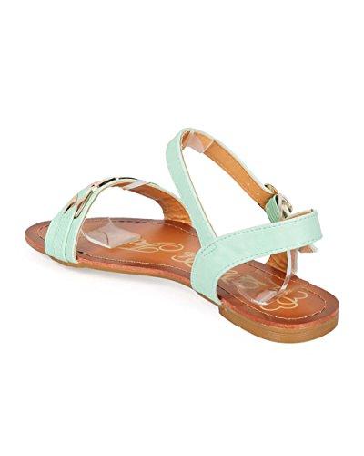 DbDk EE83 Women Leatherette Open Toe Chain Minimal Ankle Strap Sandal Mint grmBjO