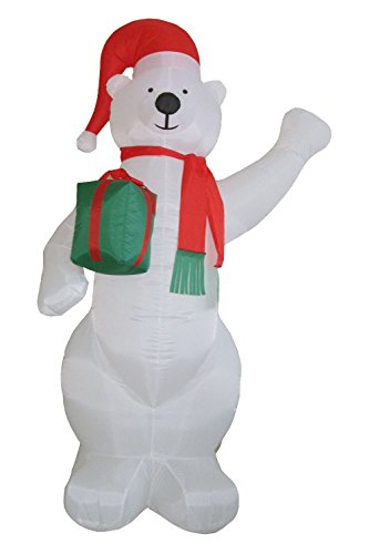 Santa's Boutique Christmas Self Inflating Illuminated Blow-Up Yard Decorations (Polar Bear with Present 8 Ft Tall)