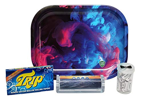Trip 2 Clear Rolling Papers 1 1/4 with Elements 79mm Roller, Pre Rolled Tips, Hippie Butler Flip Top Storage Container and Leaf Lock Gear Mini Rolling ()