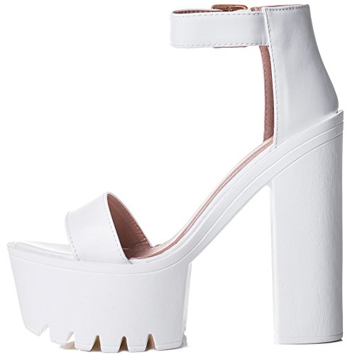 Spylovebuy Shame The Devil Women's Chunky Cleated Sole Platform Block Heel Sandals Shoes White Leather Style 84HVCt2zr