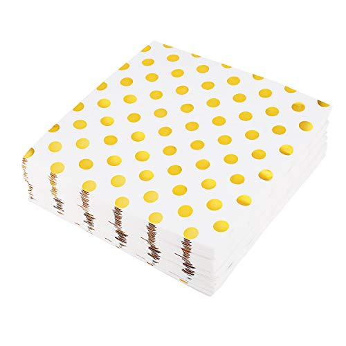 200 Gold Polka Dot Cocktail Napkins, Disposable Paper Party Napkins, Folded 6.5x6.5inch, Wedding Birthday Anniversary Engagement Holiday Supplies ()