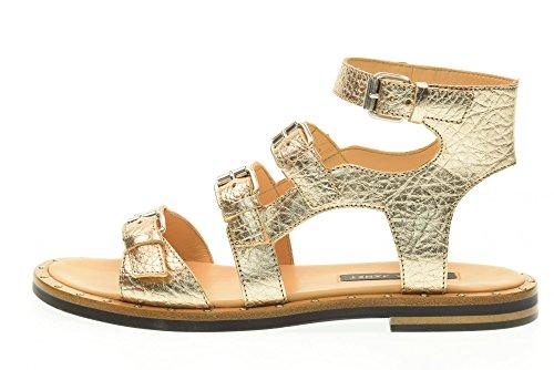 Sandale 39010 GOLD JANET amp; Gold Frau flache JANET AKIN qxAPwI
