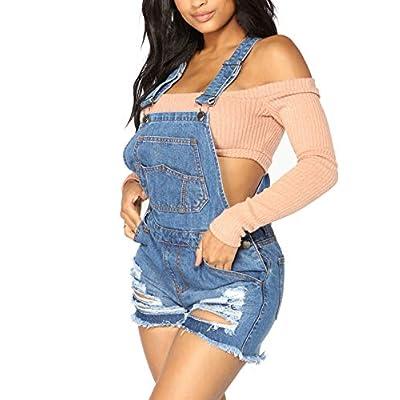 LookbookStore Women's Ripped Denim Bib Overall Shorts Raw Hem Shortall Jeans: Clothing