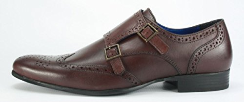 correa de cuero hombre Brown Bordo Tape hebillas Marrón Zapatos calado Tempo con para doble con Red IYXvwCxqX