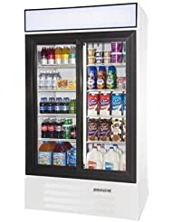 Beverage-Air LV38-1-W-LED LumaVue 43 Two Section Refrigerated Glass Door Merchandiser with LED Lighting 38 cu.ft. Capacity White Exterior and Bottom Mounted