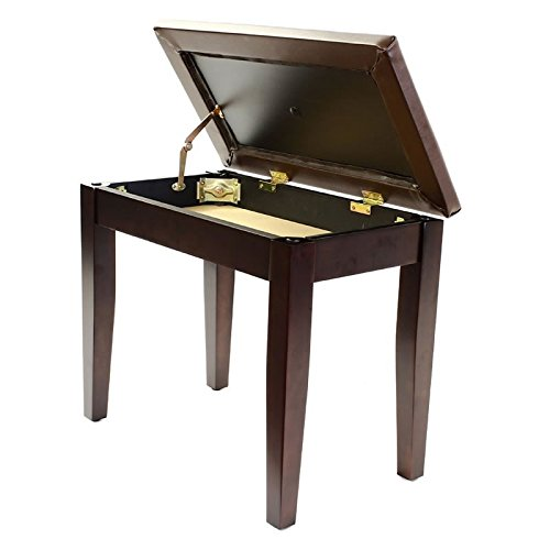 Coda Piano Bench with Padded Seat and Sheet Music Book Storage - Satin Rosewood