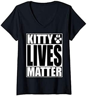Womens Funny Black Cats Matter BLM Halloween  V-Neck T-shirt | Size S - 5XL