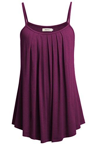 Denim Floral Cardigan - BEPEI Women Loose Casual Summer Pleated Flowy Sleeveless Camisole Tank Tops,Dark Purple,X-Large