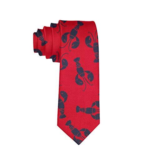 Slim Lobster Red Pattern Necktie Ties for Men, Suit Uniform Paisley Necktie Gifts for Boys Teens Youth - Formal Extra Long Neckties Wedding Ties Necktie Party Tie