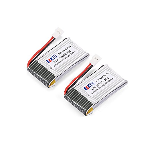 bakth 2 packs 3 7v 600mah 25c lipo rechargeable battery pack