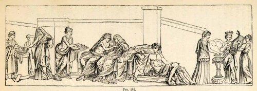 1876 Wood Engraving Aldobrandini Wedding Fresco Wall Frieze Greek Art Sculpture - Original In-Text Wood Engraving