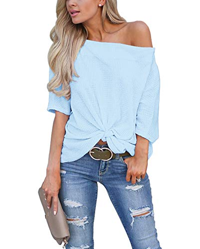 LACOZY Women's Casual Waffle Knit Tunic Blouse Sexy Off The Shoulder Tops Knot Batwing T Shirt Sky Blue Large(12/14) (Blue And White Off The Shoulder Top)