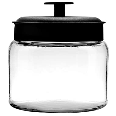 Anchor Hocking Montana Glass Jars with Fresh Sealed Lids, Black Metal, 48 oz (Set of 4)