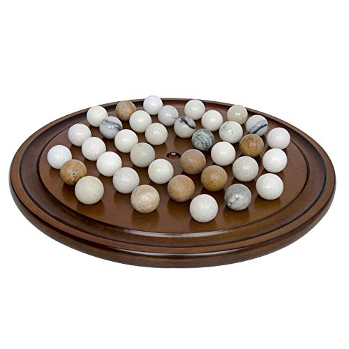 - Arolly Wooden Handmade Solitaire Game Set Marbles & Mahogany Finish