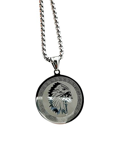Stainless Steel Native American Chief Medallion Pendant Necklace with 24' Chain