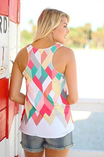 Ouneed Las mujeres de verano de geometría suelta chaleco impreso blusa sin mangas camiseta tops Blanco