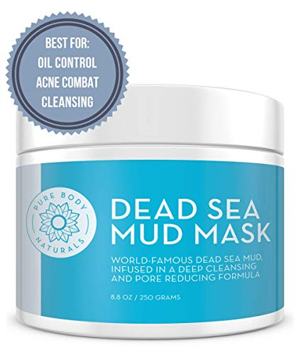 Dead Sea Mud Mask - Blended With Charcoal and Bentonite Clay - Self Care Facemask for Cleansing, Oil Control, Diminishing Acne and Blackheads (8.8 Oz) - Pure Body Naturals