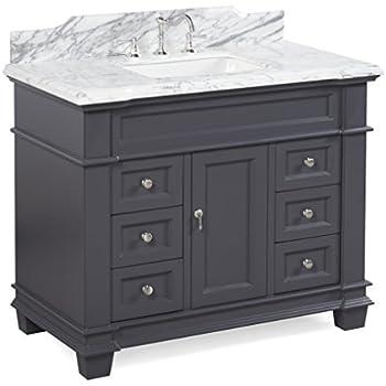 Elizabeth 42 Inch Bathroom Vanity Carrara Charcoal Gray